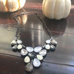 Grey, white and iridescent chunky necklace